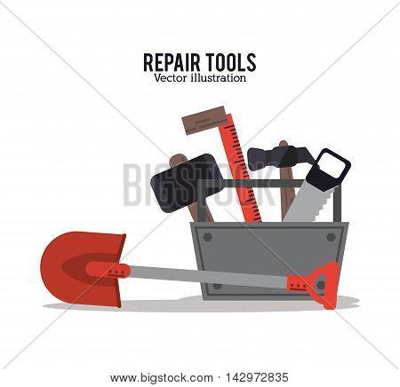 hammer saw shovel ruler repair tools construction icon. Colorful design. Vector illustration
