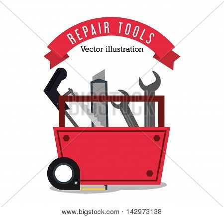 saw wrench meter repair tools construction icon. Colorful design. Vector illustration