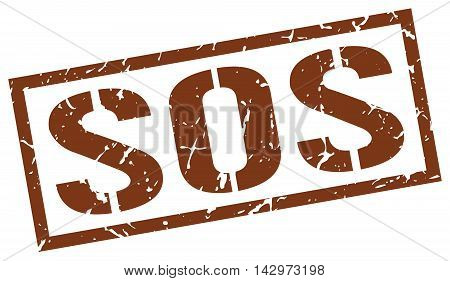 sos stamp. brown grunge square isolated sign