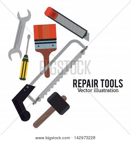 hammer saw screwdriver wrench bush repair tools construction icon. Colorful design. Vector illustration