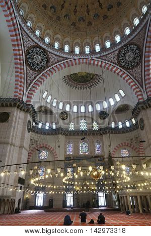 Muslims praying at a mosque in Istambul, Turkey May/2016