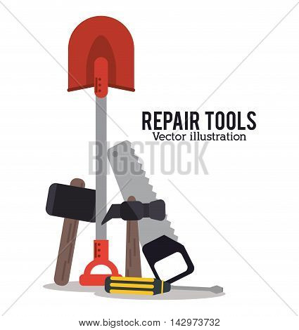 hammer shovel screwdriver saw repair tools construction icon. Colorful design. Vector illustration