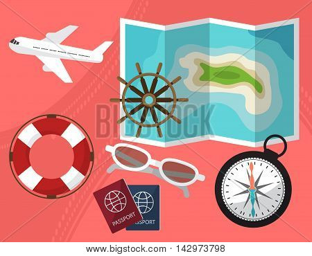 Holidays And Travel To The Islands With A Passport Facilities, Compass, Sunglasses,  Lifeline. By Pl