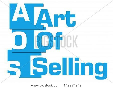 Art of selling text written over blue background.