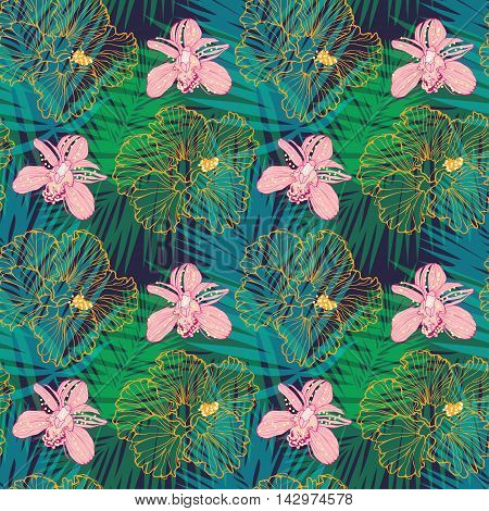 tropical pattern with palm leaves, pink orchids and hibiscus, vector seamless floral pattern
