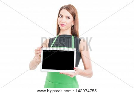 Successful Seller Showing Modern Tablet