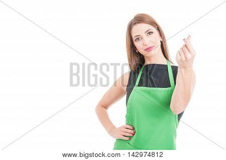 Beautiful Supermarket Saleswoman Doing Money Gesture