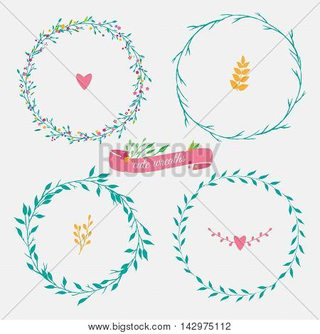four floral green wreaths, vector floral wreath with flowers and leaves