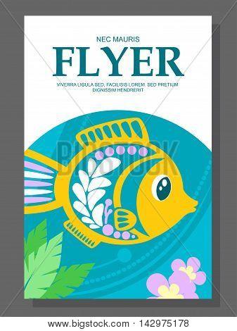 Summer Flyer With A Decorative Fish On The Ocean Floor And Algae Near It. Vector
