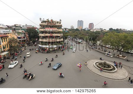 Hanoi, Vietnam - February 23, 2016: Traffic In The Old Quarter Of Hanoi At Sunset. View From Above.