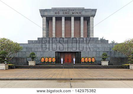 Hanoi, Vietnam - February 23, 2016: Mausoleum Of Ho Chi Minh In Hanoi, Vietnam
