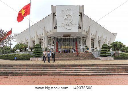 Hanoi, Vietnam - February 23, 2016: Tourists Walking Around The Ho Chi Minh Museum In Hanoi, Vietnam