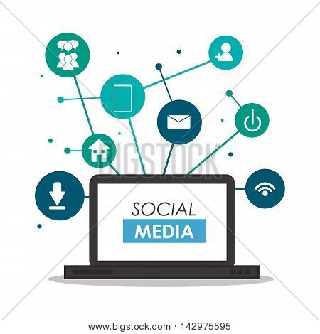 laptop multimedia social media network icon. Colorful design. Vector illustration