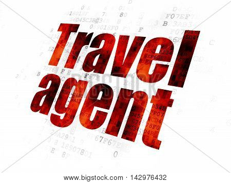 Tourism concept: Pixelated red text Travel Agent on Digital background