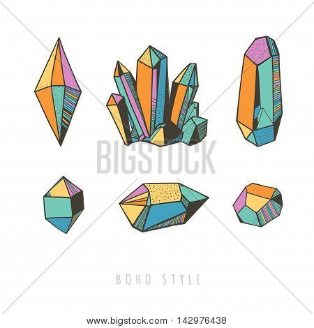 colorful crystals, boho style, vector illustration with crystals and gems