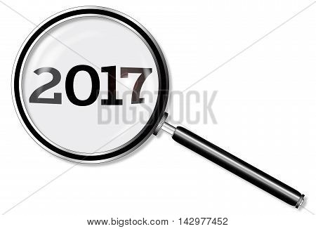 A magniying glass over 2017 over a white background