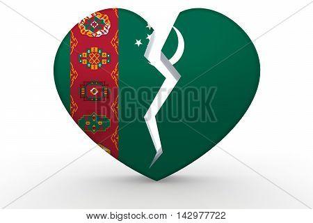 Broken White Heart Shape With Turkmenistan Flag