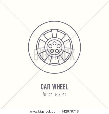 Car wheel line icon. Auto spare part. Car repair icon in outline style. Vector illustration EPS10.