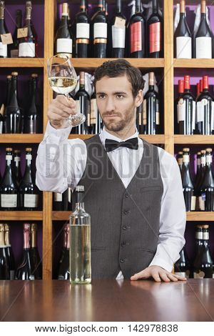 Bartender Examining White Wine In Glass At Shop Counter
