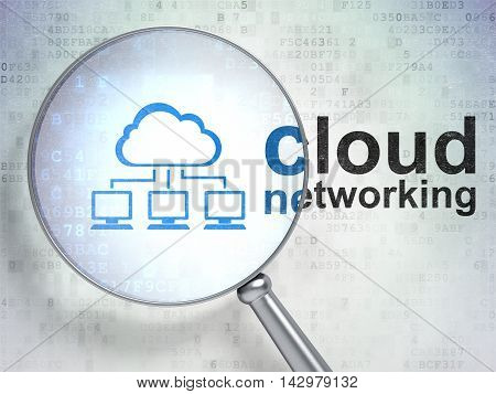 Cloud technology concept: magnifying optical glass with Cloud Network icon and Cloud Networking word on digital background, 3D rendering