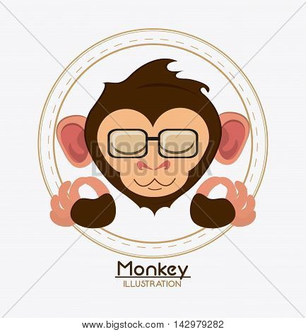 monkey face glasses cartoon animal ape icon. Colorful design. Vector illustration