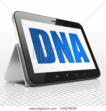 Medicine concept: Tablet Computer with blue text DNA on display, 3D rendering