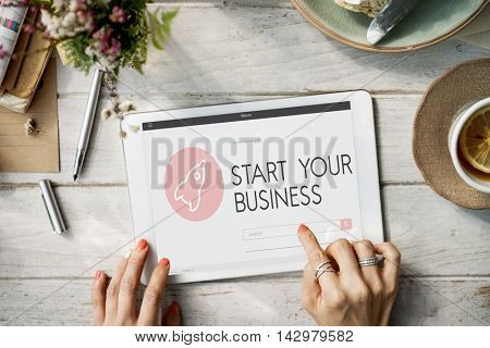 Startup Business Spaceship Goals Launch Concept