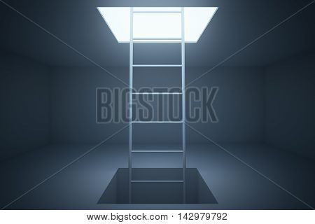 Escape ladder in grey room. 3D Rendering