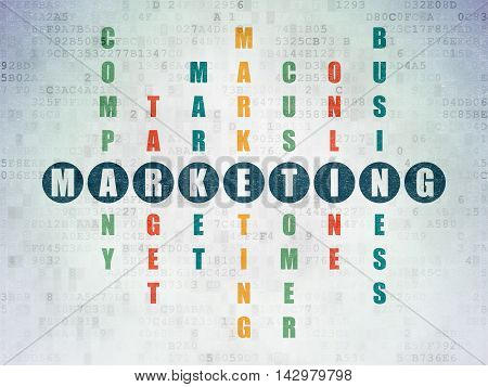 Marketing concept: Painted blue word Marketing in solving Crossword Puzzle on Digital Data Paper background