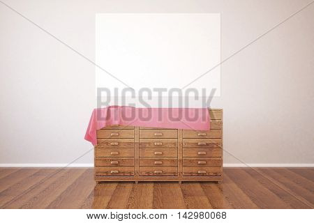 Wooden dresser with pink cloth in room with parquet flooring and blank poster hanging on concrete wall. Mock up 3D Rendering