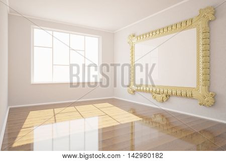 New clean woom interior with window shiny wooden floor and blank ornate picture frame hanging on concrete wall. Mock up 3D Rendering