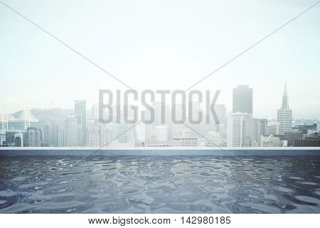 Rooftop swimming pool with panoramic city view. 3D Rendering