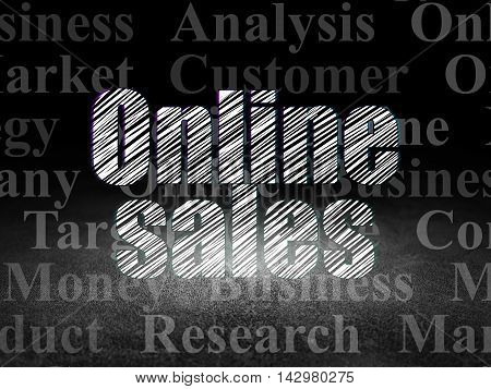 Marketing concept: Glowing text Online Sales in grunge dark room with Dirty Floor, black background with  Tag Cloud