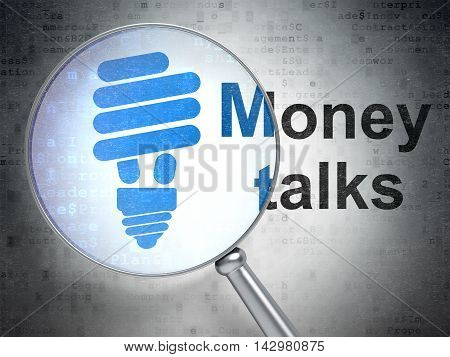 Business concept: magnifying optical glass with Energy Saving Lamp icon and Money Talks word on digital background, 3D rendering