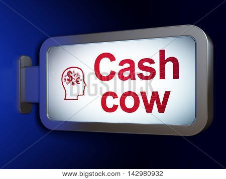 Finance concept: Cash Cow and Head With Finance Symbol on advertising billboard background, 3D rendering