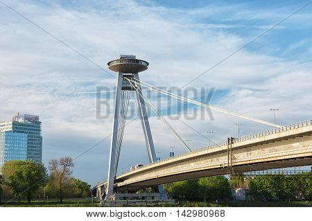 New bridge ( SNP) in Bratislava with an observation deck