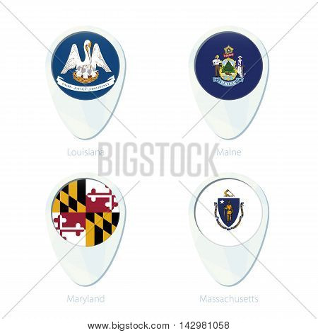 Louisiana, Maine, Maryland, Massachusetts Flag Location Map Pin Icon.