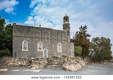The Holy Church of the Primacy - Tabgha on the Sea Gennesaret. Sea of Galilee in Israel. Jesus then fed with bread and fish hungry people