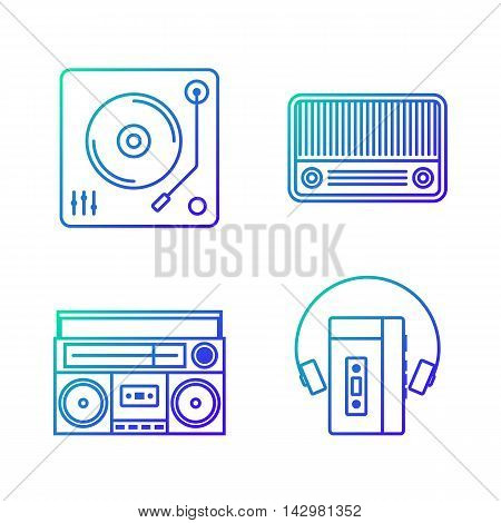 Retro vintage music player outline gradient icon isolated on white background vector illustration