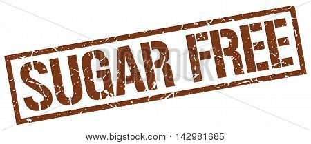 sugar free stamp. brown grunge square isolated sign