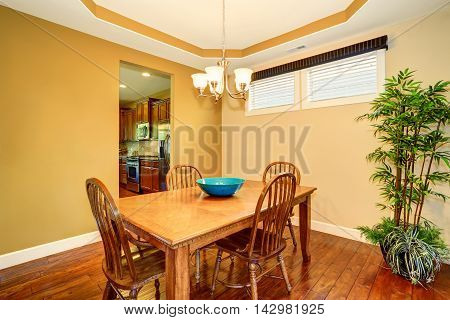 Dining Wooden Table And Chair Set. Dining Room Design