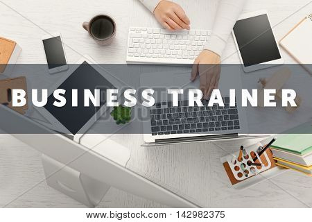 Business training concept. Businesswoman works at office