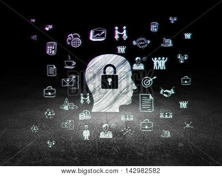 Finance concept: Glowing Head With Padlock icon in grunge dark room with Dirty Floor, black background with  Hand Drawn Business Icons