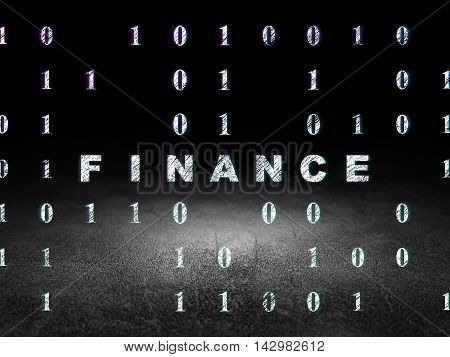 Business concept: Glowing text Finance in grunge dark room with Dirty Floor, black background with Binary Code