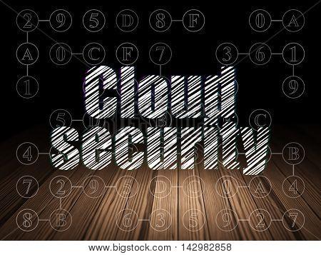 Security concept: Glowing text Cloud Security in grunge dark room with Wooden Floor, black background with Scheme Of Hexadecimal Code