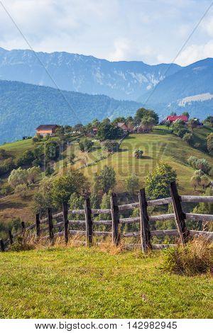 Mountain Landscape In Romania. Rural Romanian Landscape. Landscape In Magura Village With The Carpat