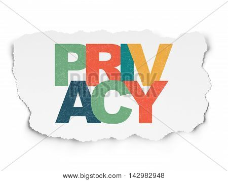 Protection concept: Painted multicolor text Privacy on Torn Paper background