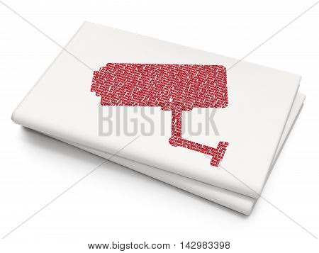 Safety concept: Pixelated red Cctv Camera icon on Blank Newspaper background, 3D rendering