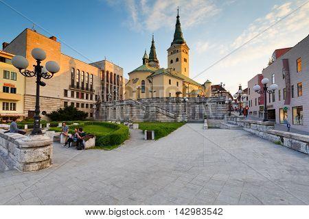 ZILINA, SLOVAKIA - MAY 20, 2016: Main church in the city of Zilina in central Slovakia on May 20, 2016.