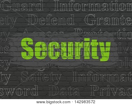 Protection concept: Painted green text Security on Black Brick wall background with  Tag Cloud